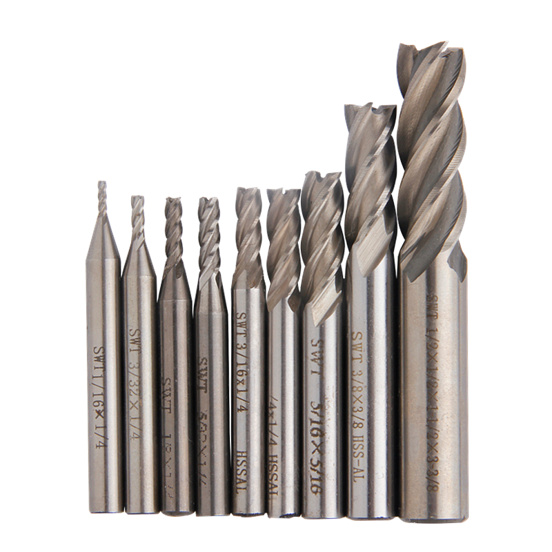 9pcs Carbide Milling Cutter 1/16''-1/2'' Inch End Mills 4 Flutes Straight Shank Router Bit Set CNC Tools high grade carbide alloy 1 2 shank 2 1 4 dia bottom cleaning router bit woodworking milling cutter for mdf wood 55mm mayitr