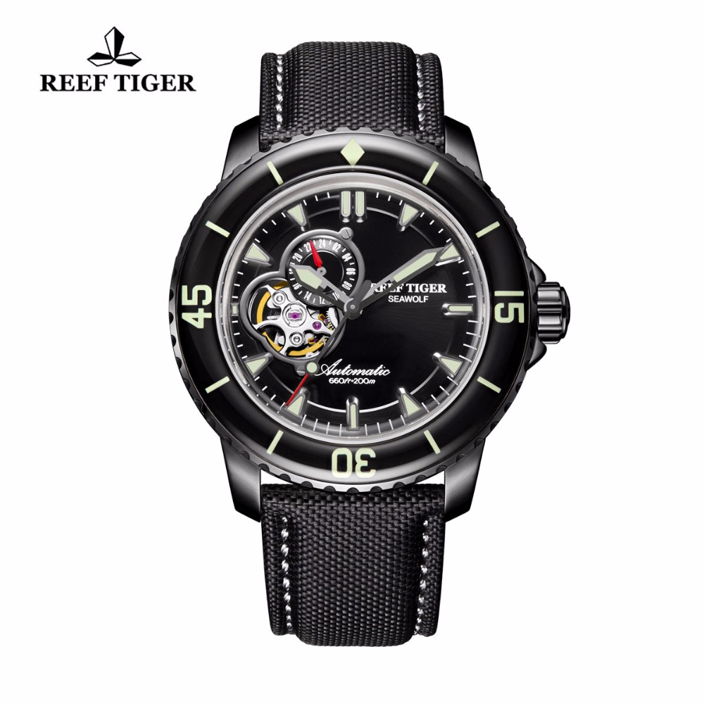 Reef Tiger/RT Men's Dive Watch with Date Nylon Band Super Luminous Skeleton Automatic Watches RGA3039 reef tiger rt top brand automatic watches enjoy your live style dive watch luminous nylon leather rubber watches rga90s7