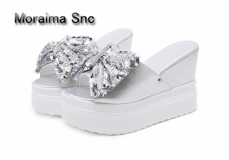 Moraima Snc wedges sandals Thick bottom ladies slides bling butterfly-knot high heels slippers women crystal summer shoes women moraima snc gladiator shoes black peep toe women wedges shoes color crystal butterfly knot platform high heels sandals women