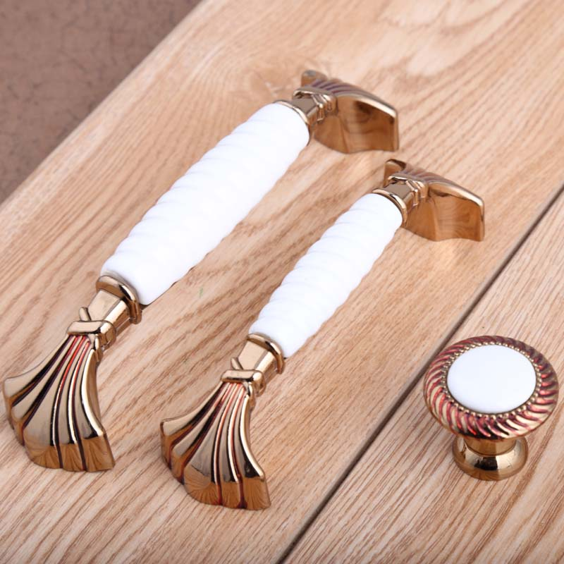 128mm european fashion Champagne gold wine cabinet wardrobe door handles 96mm white ceramic drawer watch tv table knobs pulls 5 the ivory white european super suction wall mounted gate unique smoke door
