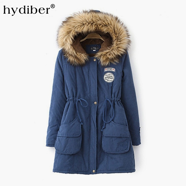 HYDIBER 2017 New Hooded Women Winter Jackets Cotton Padded Female Long Style Cashmere Coat Fleece Plus Size  Winter   XXXL