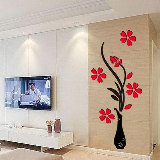€ 6.84 9% de réduction|Acrylique Vase prune fleur Stickers muraux salon TV  fond 3D Stickers muraux décoration affiche Art décor à la maison ...