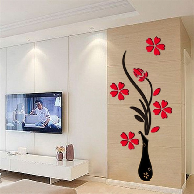 Arcylic Vase Plum Flower Wall Stickers Living Room TV Background ...