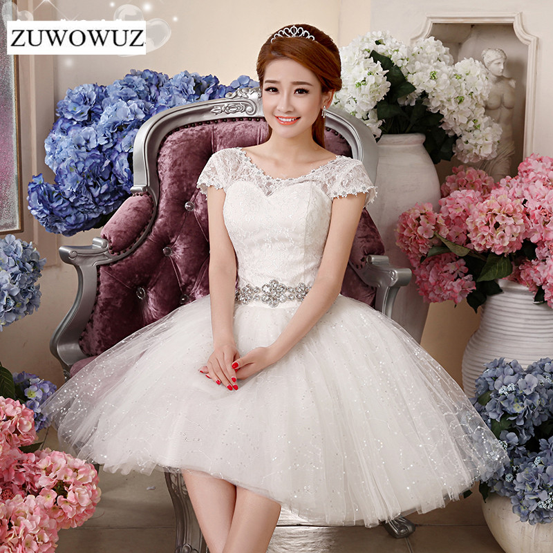 2017 new plus size short wedding dress bridal ball gown for Simple wedding dresses for small wedding