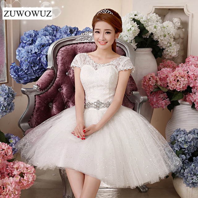 2017 New Plus size short wedding dress bridal ball gown simple cheap ...