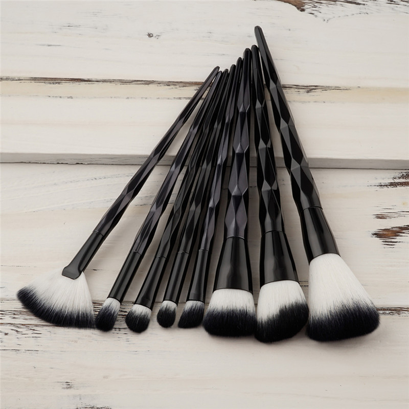 8 pcs Black Diamond Makeup Brushes Set Soft Hair Cosmetic Makeup Brush For Foundation Concealer Powder Large fan face brush tool large soft cosmetic makeup brush