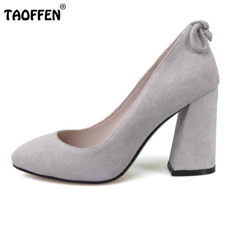 Women's Real Leather High Heeled Shoes Women Pointed Toe Bowtie Thick Heeled Pumps Office Lady Sexy Party Footwear Size 33-40 taoffen women high heels shoes women thin heeled pumps round toe shoes women platform weeding party sexy footwear size 34 39