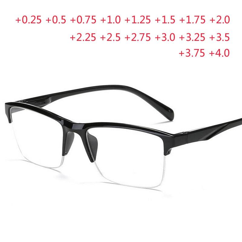 Black Half Frame Reading Glasses Anti-fatigue Eyeglasses Magnifier +0.25 +0.75 +1.0 +1.25 +1.75 +2.0 +2.25 +2.75 +3.25 +3.5 +4.0