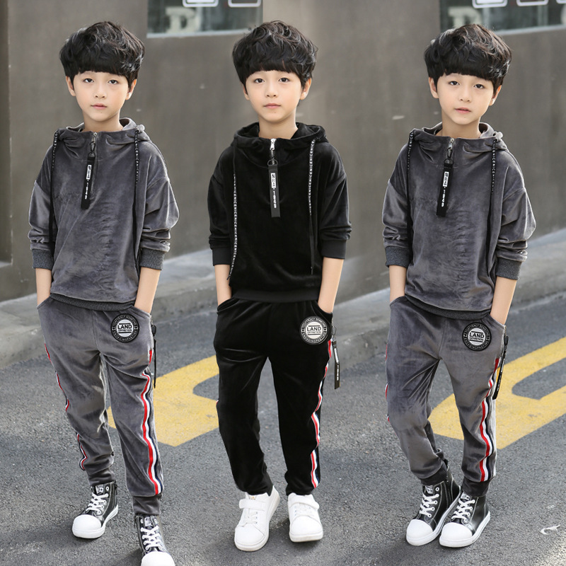 Spring Autumn Kids Clothes Sets For Boys Girls Hooded Sweatshirts + Pants Children Gold Velvet Clothing Suits 2015 new autumn winter warm boys girls suit children s sets baby boys hooded clothing set girl kids sets sweatshirts and pant