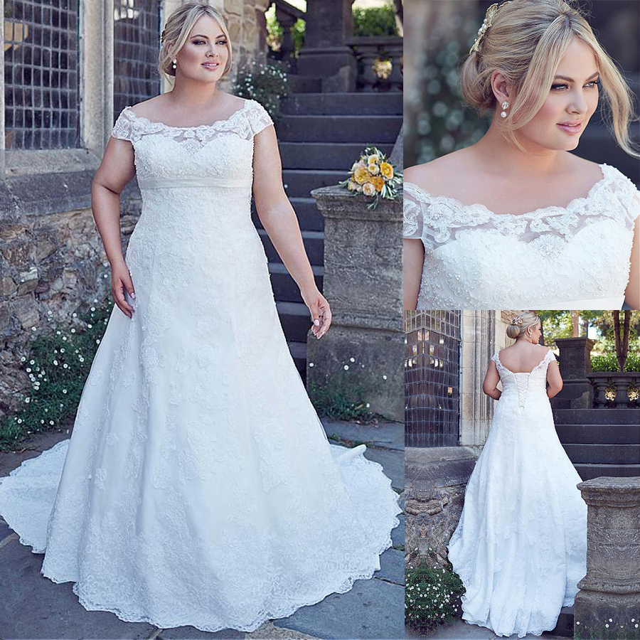Fabulous Tulle Off the shoulder Neckline A line Wedding Dresses With Lace Appliques Plus Size Bridal