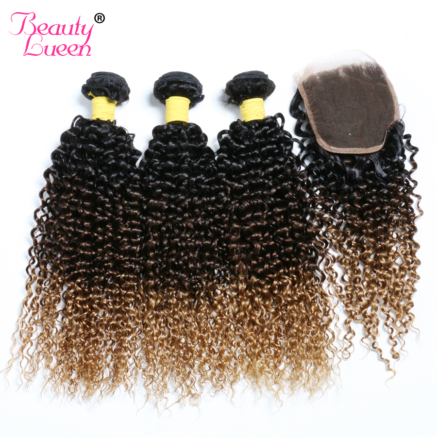 Ombre Brazilian Kinky Curly Weave 3 Bundles With Closure Human Hair Bundles With Lace Closure Free