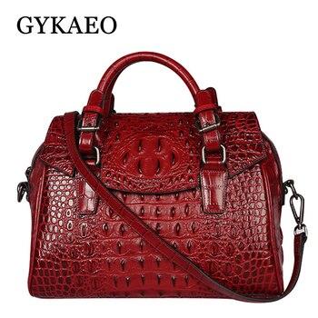 GYKAEO európai és amerikai stílusú krokodil minta táska női nagykapacitású valódi bőr táska női táska táska