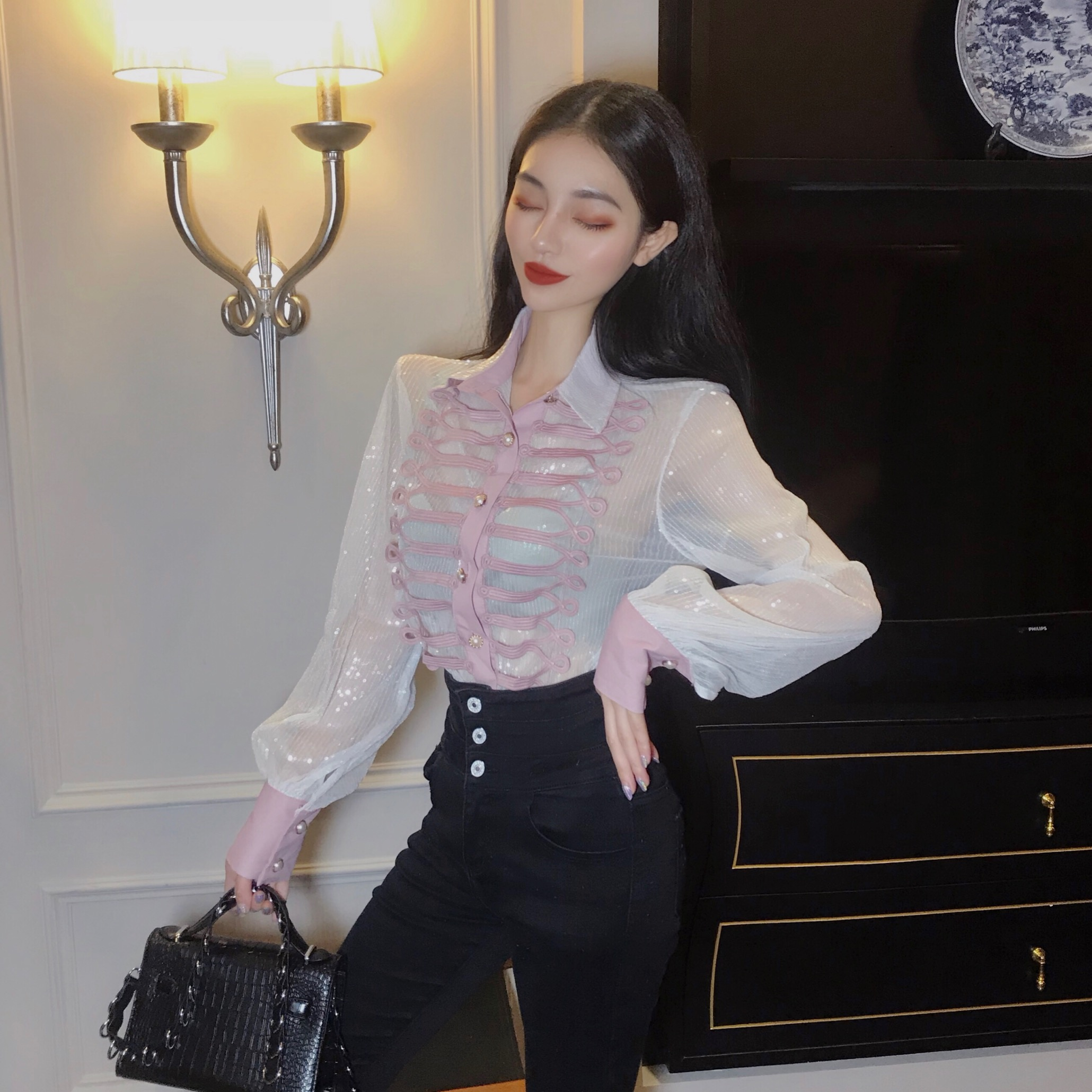 bf06deb2fa US $20.98 Sexy Transparent Sheer Blouse Embroidery Fancy Shirt Women ...