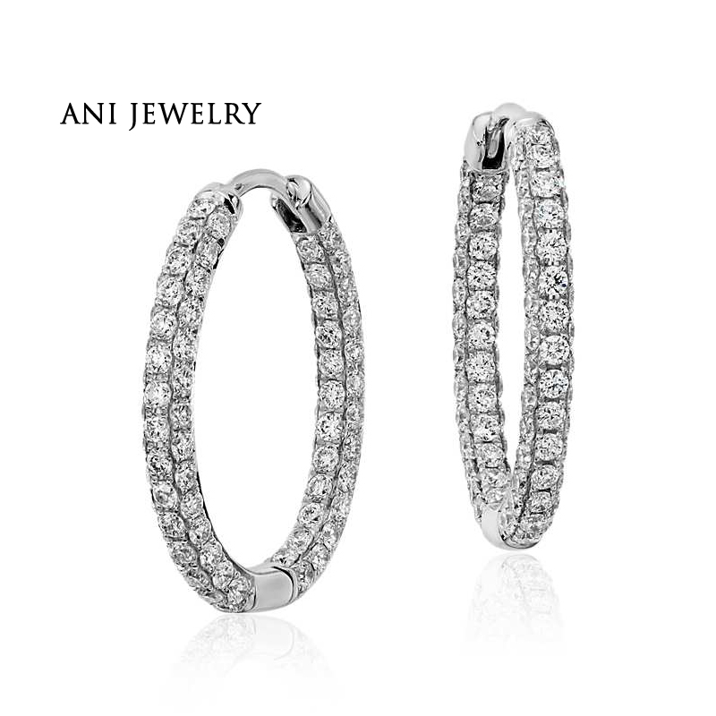 ANI 18k White Gold Women Circle Earrings 1.83 CT Certified I/S1 Natural Diamond Women Fine Jewlery Circle Earrings Customized цена 2017