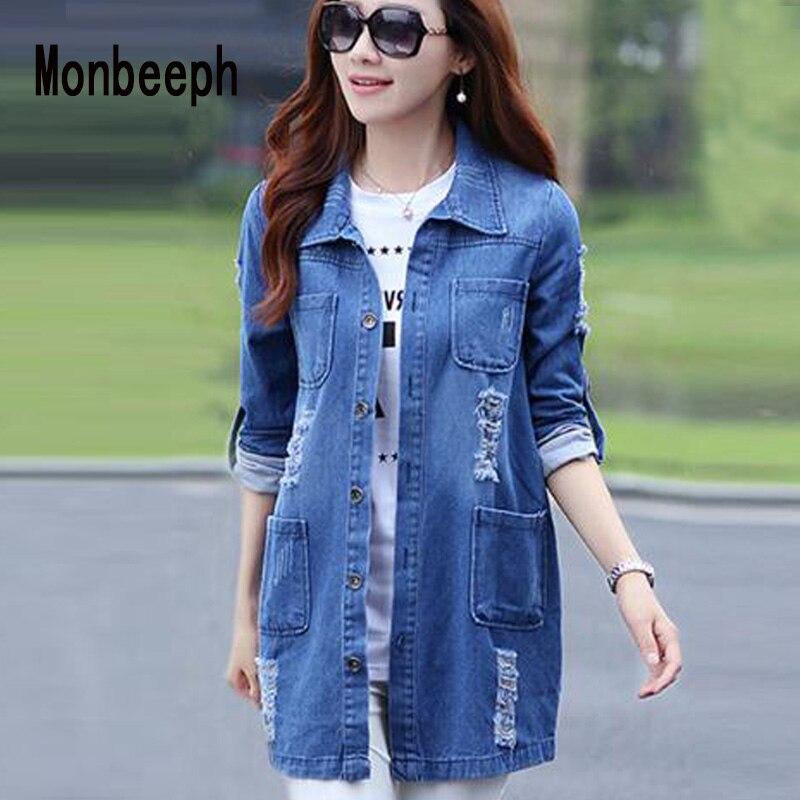 Monbeeph nouvelle mode printemps automne femmes à manches longues Jeans manteau décontracté déchiré Long Denim veste d'extérieur 4XL