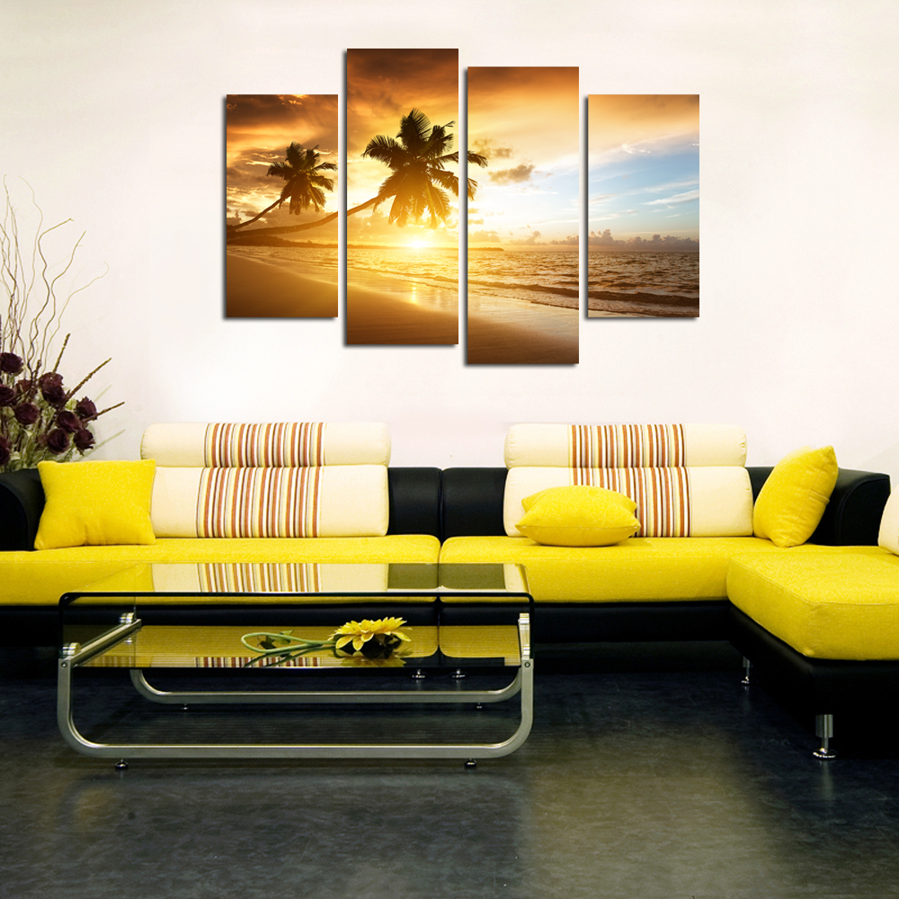4 Panels Sunset Scenery Painting Artwork,Office Decoration Landscape ...