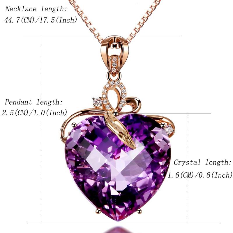 HTB16GgeaPzuK1Rjy0Fpq6yEpFXar Women Necklace Pendant High Quality Heart Shape Amethyst Pendant Rose Gold Necklace Jewelry Charm Wedding Party Fine Jewelry