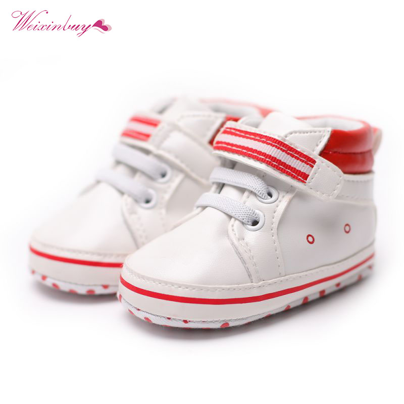 PU Leather Prewalker Infant Sweet Sneaker Anti-skid Hi-top Soft Baby Shoes Newborn Baby Boy First Walker 0-18 Months