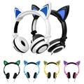 Orejas de Gato Auriculares para Juegos de Auriculares plegable Intermitente Brillante con luz LED Para Pc Portátil Teléfono Móvil