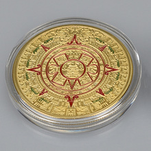 Gold silver Plated Mayan Aztec Prophecy Commemorative Coin Calendar Art Gift
