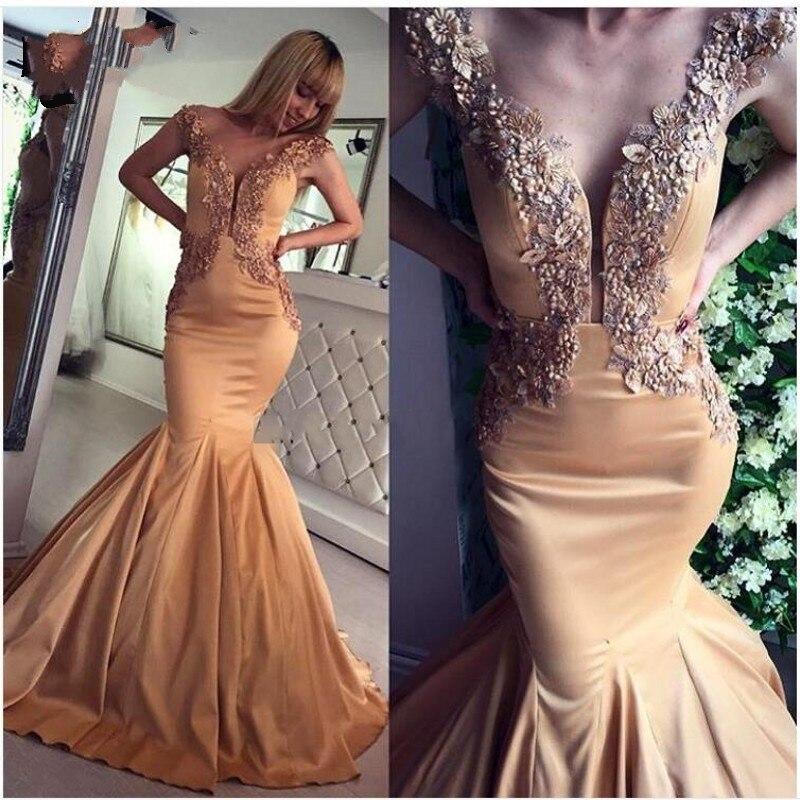 Robe de soirée sirène longue robes de soirée abiye robes de soirée robes largos abendkleider Appliques perle robe de soirée col en V