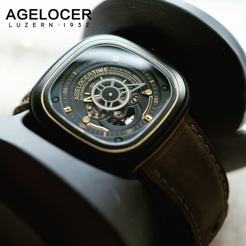 Agelocer Luxury Brand Skeleton Mechanical Watches Mens Automatic Relogio Self Wind Luxury Genuine Leather Strap Men Sport Watch skeleton men self wind leather mechanical automatic watch mens watches top brand luxury male clock relogio automatico masculino