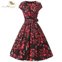 SISHION Retro Party Dress Cap Sleeve 2018 Women Cotton Large Swing Vintage Floral Rose Print Tunic