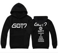 Men and women new style shirts Kpop GOT7 2017 fall winter long sleeved hooded Sweatshirts k pop GOT7 pair hooded coat shirt