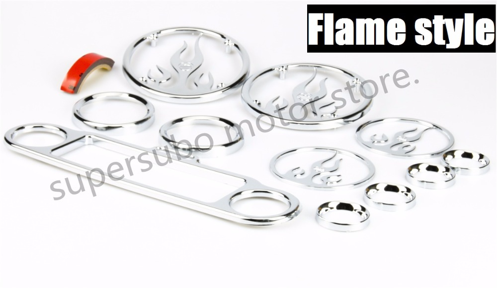 Motorcycle Chrome Flame Inner Fairing Gauge Speaker Trim Kit For Harley 96-13 Electra Glide Street Glide