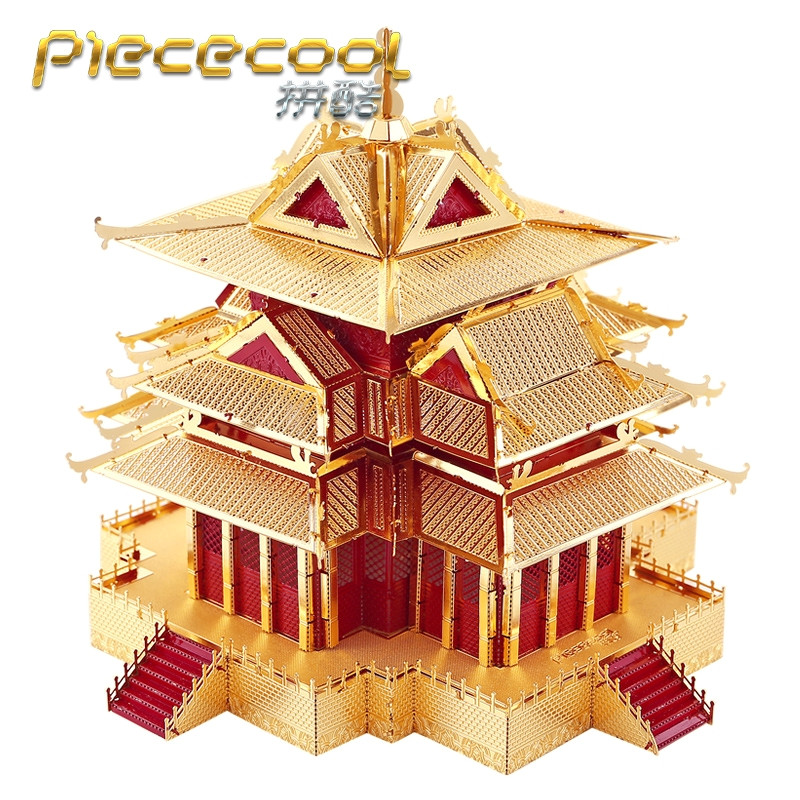 ICONX 3D Metal Puzzle Toys For Children Pieceool Puzzle 3D P075RG The Watchtower Of Forbidden City Building Assembly Toy Puzzles eighteen disciples of the buddha children puzzle toy building blocks
