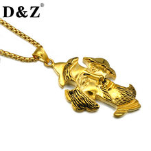 D&Z Vintage Gold Color 316L Stainless Steel Christian Jesus Cross Pendants Necklaces for Men Gold Jewelry(China)