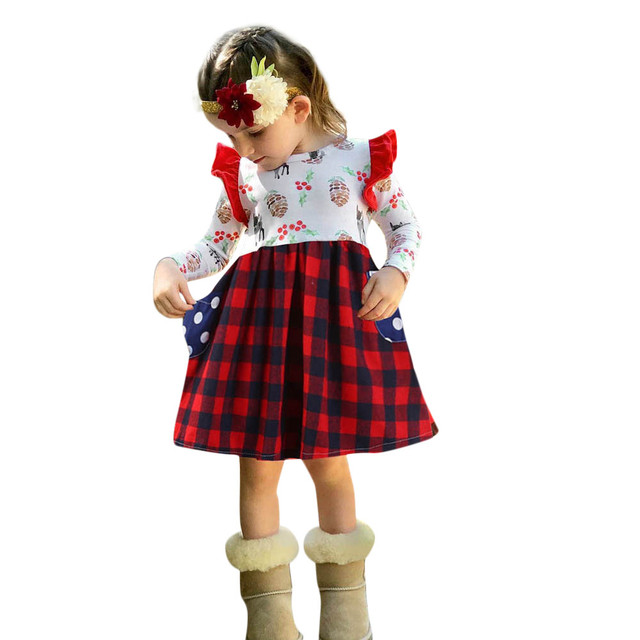 Muqgew Children Baby Girls Dress Plaid Pinecone Fawn Print Long