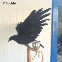 foam&feathers black crow bird large 35x60cm feathers crow handicraft prop garden decoration gift p0780(China)