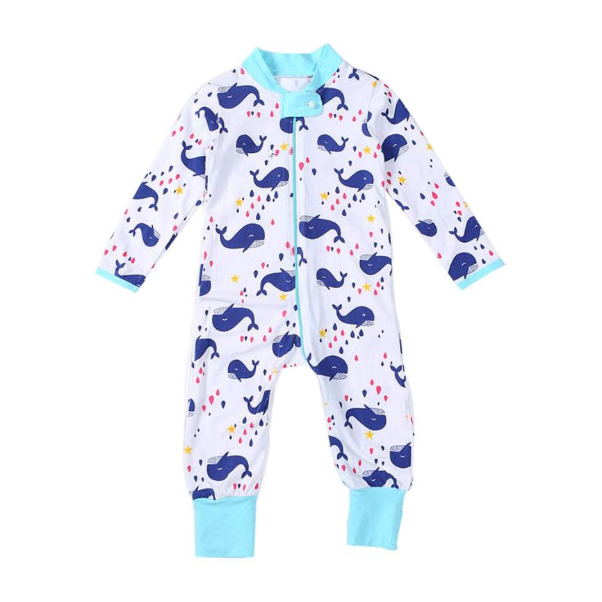New arrival 2017 newborn unisex Baby Boys Girls cute Zipper Small whale Print raindrop Romper Jumpsuit Clothes Outfit full bebes
