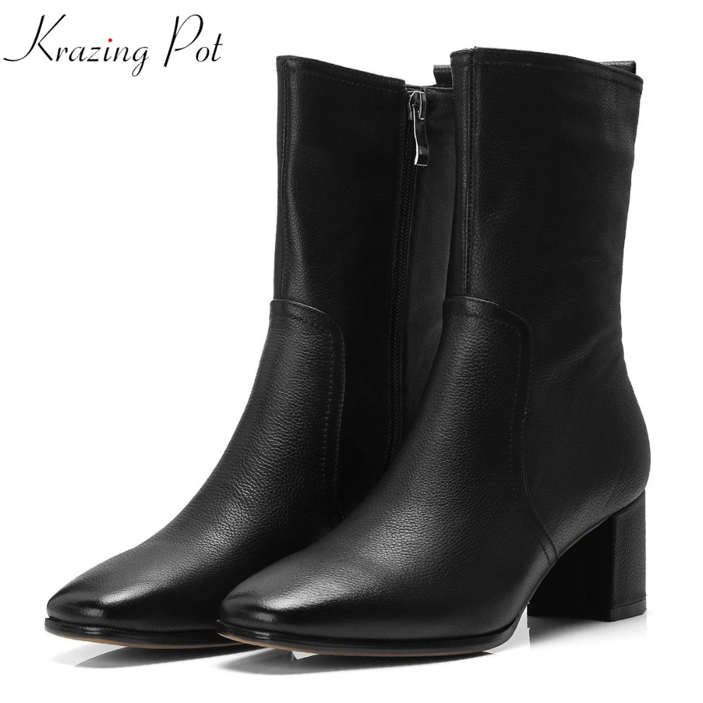 Krazing Pot genuine leather Winter streetwear high heel square toe gladiator rome designer women superstar mid-calf boots L7f1