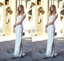 Elegante Lange Abendkleider Mantel Bodenlangen Weiß Abendkleider Backless Neue A-linie Kleid für Partei vestidos de festa