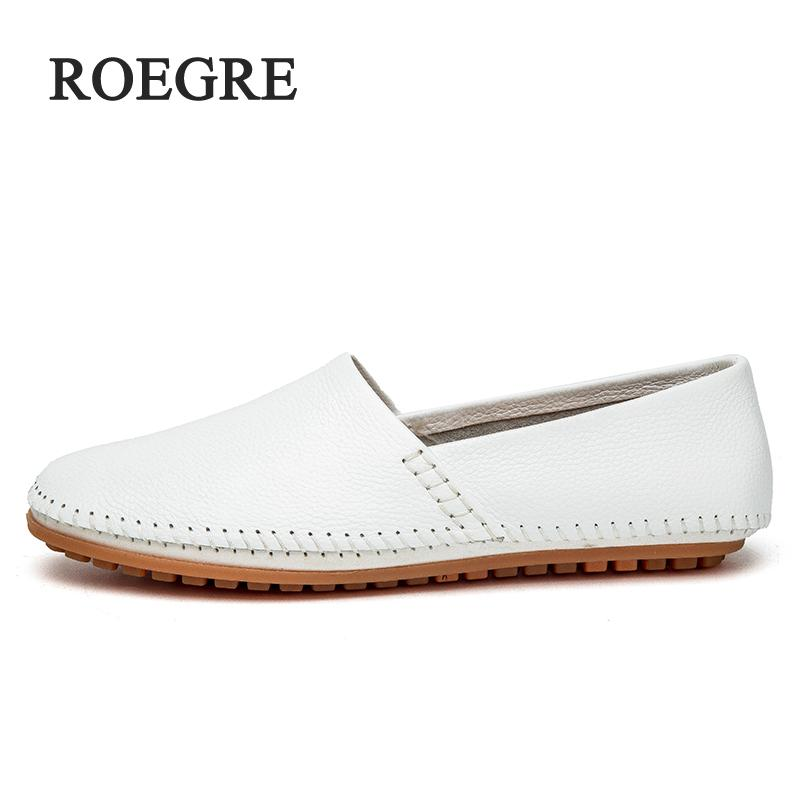 ROEGRE Mens Shoes Big Size 39-47 Manual Genuine Leather Mens Sewing Machine Loafers Moccasins Driving Slip on Casual Leather Me