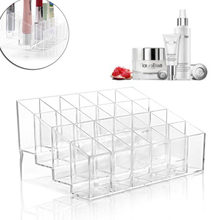 Acrylic 24 Stand Trapezoid Clear Lipstick Lotion Makeup Cosmetic Holder Case Storage Display Stand Lipstick Shelf Tool(China)