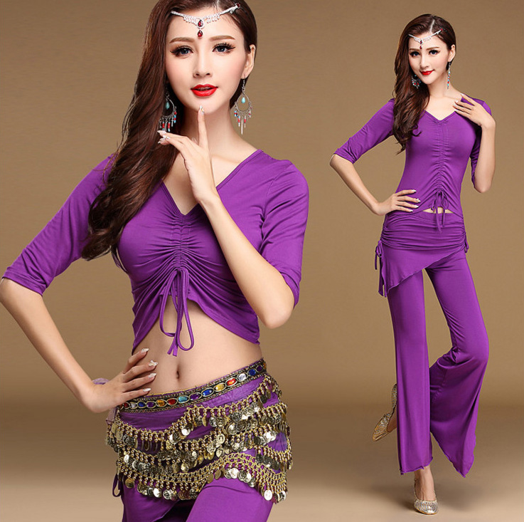 Modal Oriental Belly Dance Bellydance Kostum Set Tangkai Tops Flare Pants untuk Wanita Pakaian Tarian India Dancer Wear Clothing