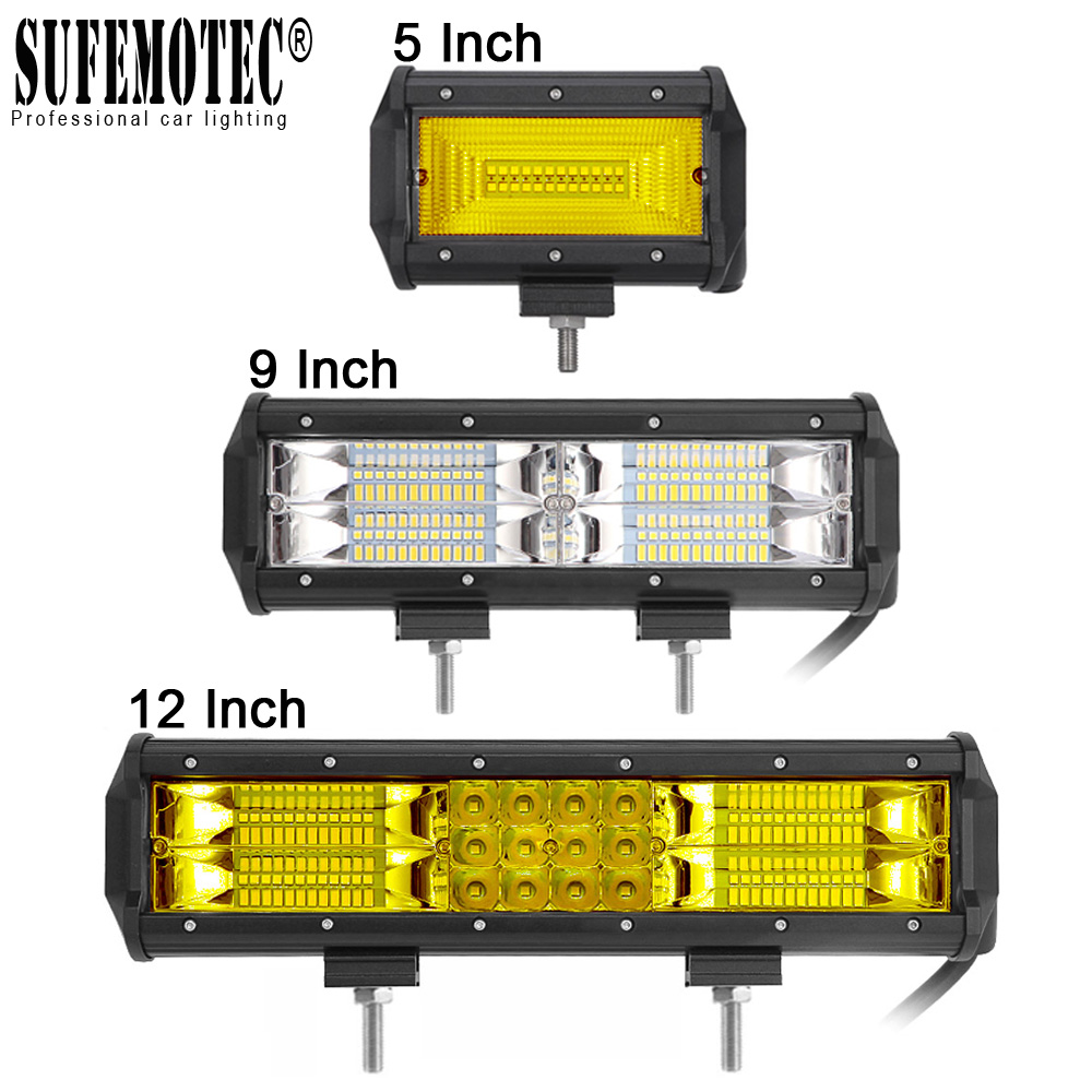 12 Inch 72W 180W LED Light Bar Spot Flood Beams For 4X4 Offroad Trucks Motorcycle Fog Lamp 12V 24V Driving Work External Lights