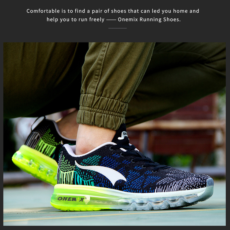 ONEMIX Men's Sport Running Shoes Music Rhythm Men's Sneakers Breathable Mesh Outdoor Athletic Shoe Light Male Shoe Size EU 39-47