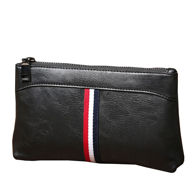Práctica bolsa de cierre de cremallera embrague hombres carteras de marca para hombre de la mano cartera de los bolsos masculinos de cuero de LA PU Monedero de la moneda para el ocio y negocio
