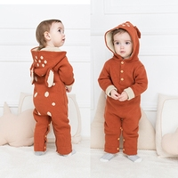 winter knitted overalls unicorn romper for baby body suit infant newborn boy girl toddler warm thicken jump suit bunny ears 3 6
