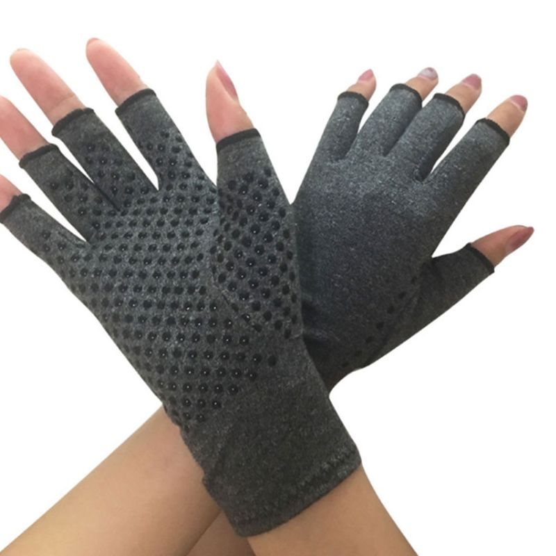 Women Men Unisex Compression Arthritis Hand Gloves Textured Open Finger Joint Pain Relief Fingerless Wrist Length Mittens For Rh