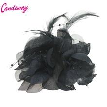 2017 Fashion Black High Quality Girls Elegance Hair Clips Cloth Flowers Plastic Hair Claws Headbands For