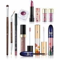 10pcs Set Professional Cosmetics Kit Matte Lips Shimmer Eyes Face Full Professional Makeup Set For Women