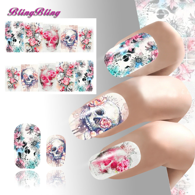 2pcs Theme Nail Art Sticker Waterslide Decals Design Nails Wraps Harajuku Fantasy Flower Skull