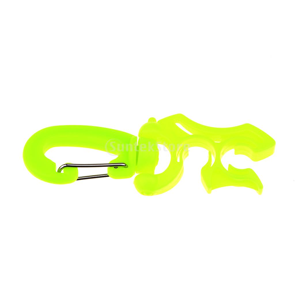 3pcs/ Set Black + Yellow + Orange Scuba Diving Regulator Silicone Double BCD Hose Holder with Rotates & Folds Clip 100 x 35mm