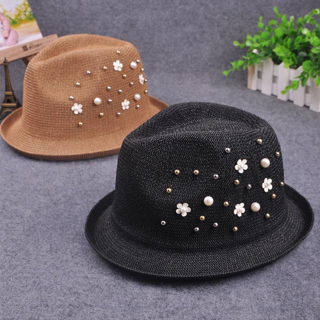 Nueva Inglaterra grano de la perla pequeña playa Femenino sombrero de verano sombrero de Paja flores