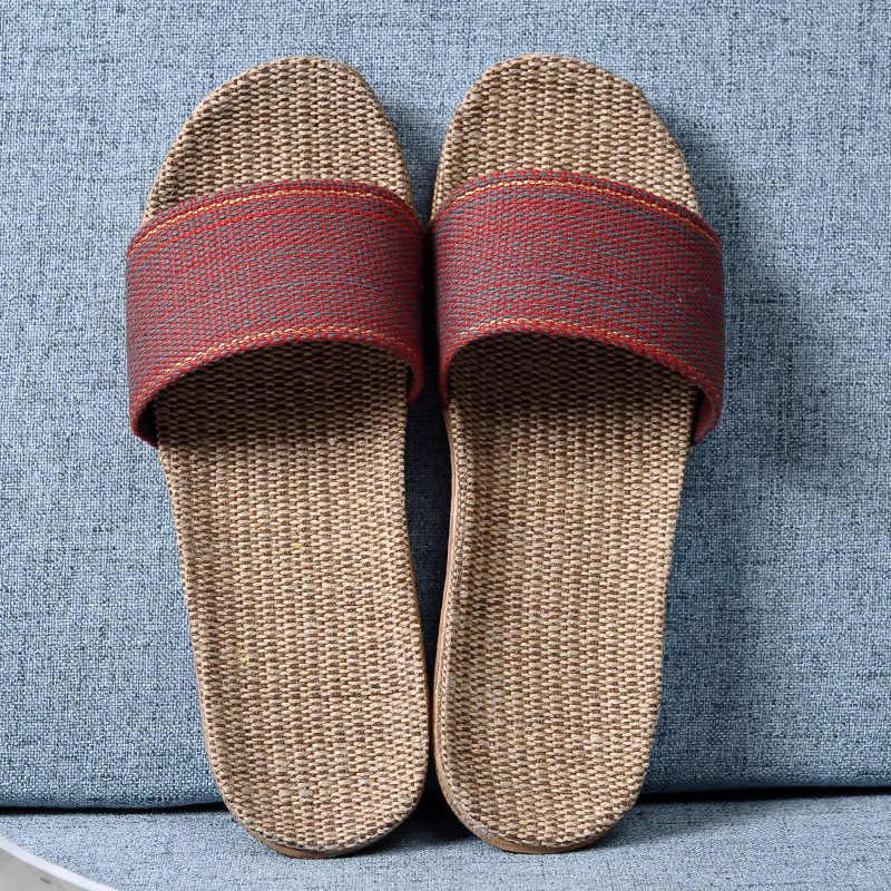 Suihyung yaz kadın keten terlik yeni renk şerit kemer kapalı ayakkabı rahat ev açık ayak terlik severler rahat keten slaytlar